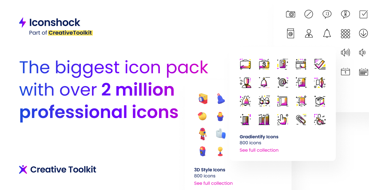 2 million stock icons and 800 icon sets