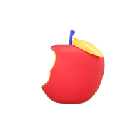 bitten apple 3d icon small front