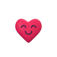 happy heart 3d icon small front