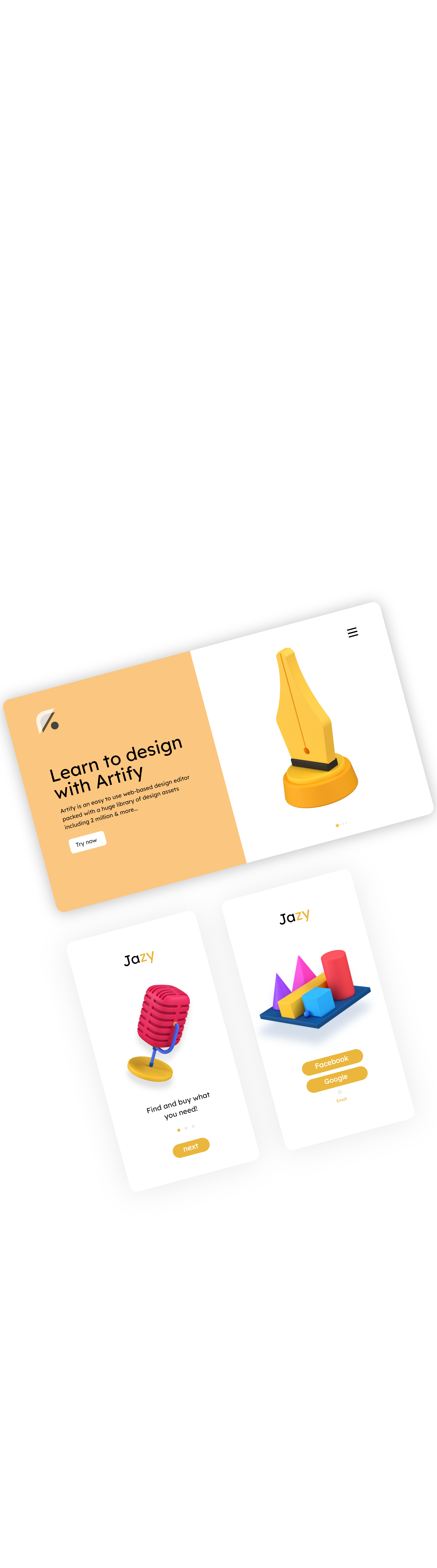 layout mobile 3d icon set 4