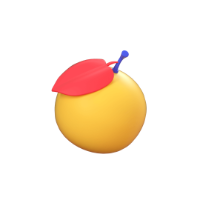 orange 3d icon small front