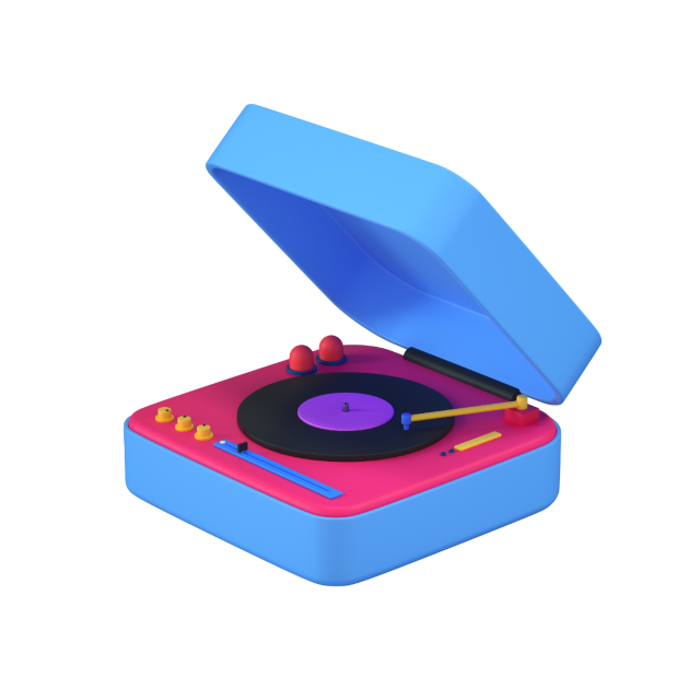 plays records 3d icon big perspective 2