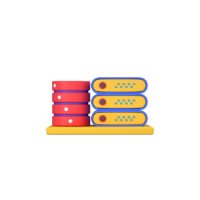 server and database 3d icon small front