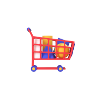 shopping cart 3d icon small front